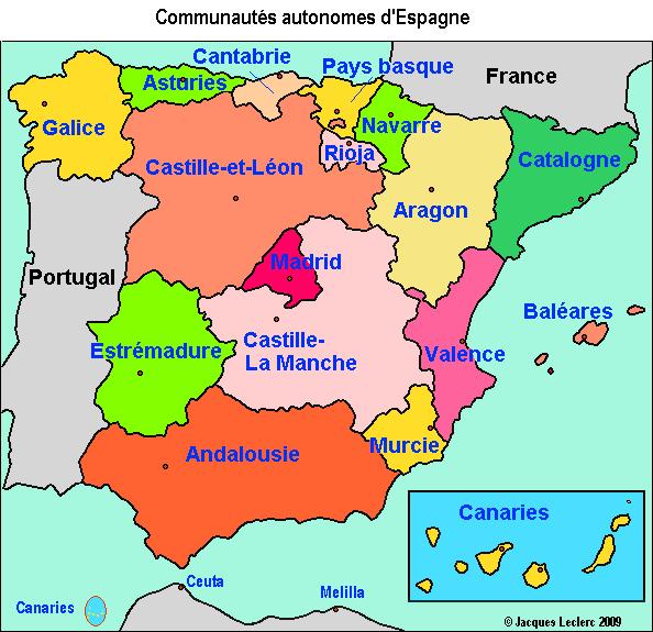 Carte Geographique Andalousie.Carte Espagne Geographie