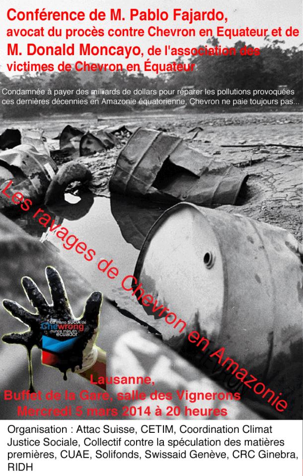 Pollution en Équateur : amende historique pour le géant pétrolier Chevron Lausanne-courriel