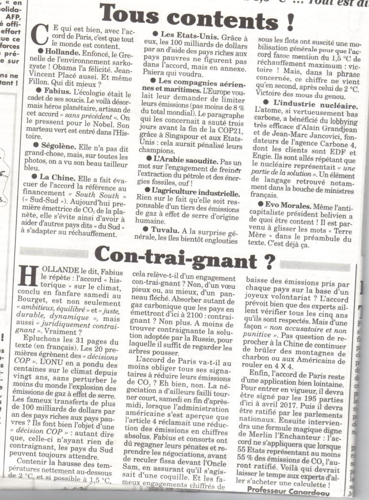 Merci au Canard Enchaîné et au Pr Canardeau