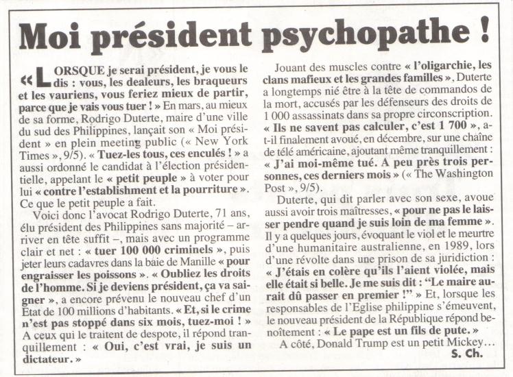 président psychopathe